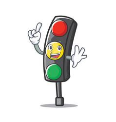 Finger traffic light character cartoon vector