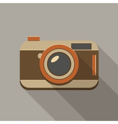 Flat long shadow retro camera icon vector image