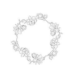 Floral botanical frame and monogram vector