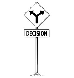 Fork in the road arrow sign drawing of decision vector