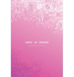 Glowing pink tree branches vertical background vector