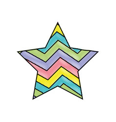 Grated star bright rainbow in the star design vector