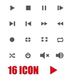 Grey media player icon set vector