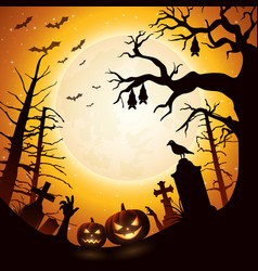 halloween background with pumpkins and bats hangin vector image