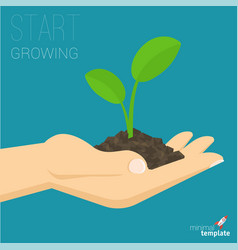 Hand holding soil with growing sprout vector
