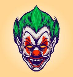 head angry joker clown vector image