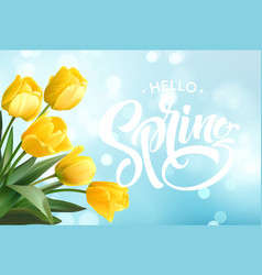 Hello spring hand lettering with tulip flower vector
