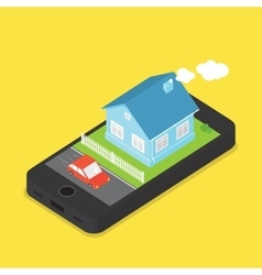 House and car on phone screen cartoon vector