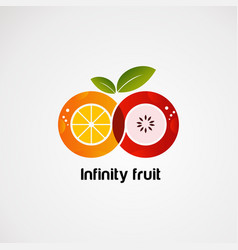 Infinity fruit with colorful concept logo icon vector