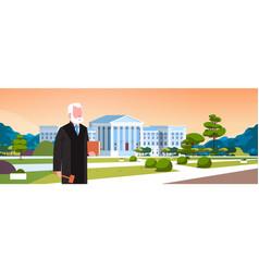 Judge man court worker in judicial robe holding vector
