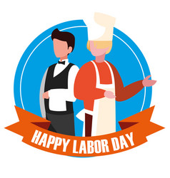 Labour day celebration seal with professionals vector