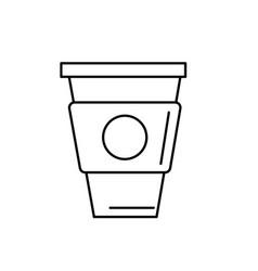 Line delicious coffee in plastic cup icon vector