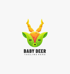 Logo baby deer gradient colorful style vector
