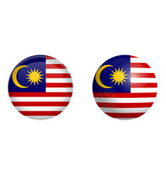 Malay flag under 3d dome button and on glossy vector