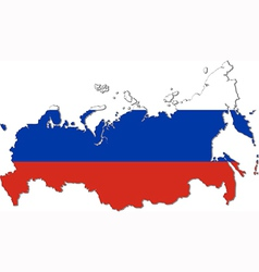 Map of Russia with national flag vector image vector image