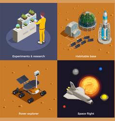 Mars colonization 2x2 design concept vector
