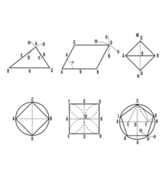 Mathematical with geometrical figures and plots vector image