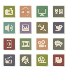 media icon set vector image