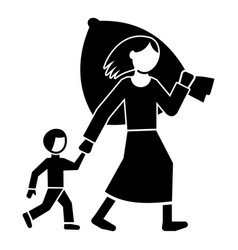 migrant mother kid icon simple style vector image