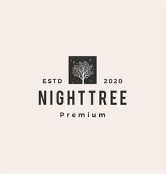 night banyan tree hipster vintage logo icon vector image