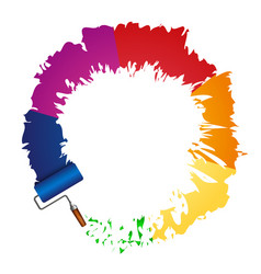 paint roller and color paint vector image