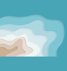 paper art cartoon abstract waves holes blue sea vector image