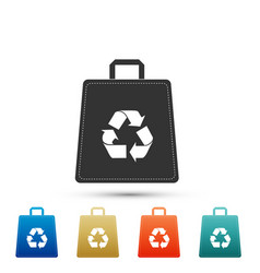 Paper shopping bag with recycle symbol icon vector