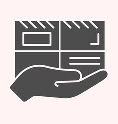 parcel glyph icon mail delivery hand holding vector image