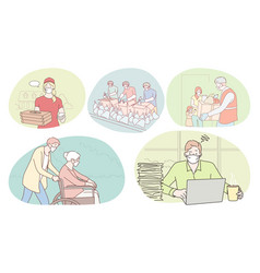 people different professions working during vector image