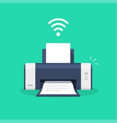 printer icon with wifi wireless symbol or ink jet vector image