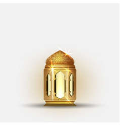 ramadan kareem with golden ornate crescent and vector image