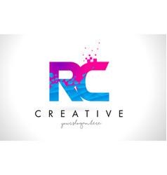 Rc r c letter logo with shattered broken blue vector