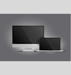 realistic display monitor desktop and laptop vector image