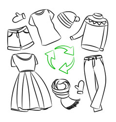 Recycling cloth monochrome global ecological probl vector