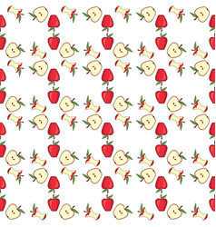 Red apple core half fruit vector