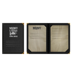 Restaurant menu notebook in black leather binding vector