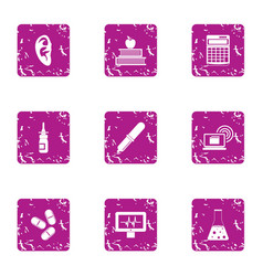Sanitary doctor icons set grunge style vector