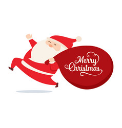 santa claus with bag gifts character isolated vector image