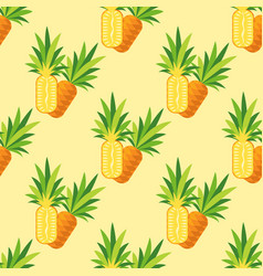 seamless pattern of pineapple on a turquoise vector image