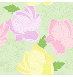 seamless pattern with colored lotus vector image