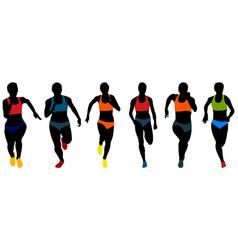 set athletics woman runners vector image