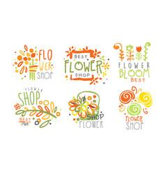 Set contour logos for a flower shop vector