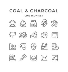 Set line icons of coal and charcoal vector