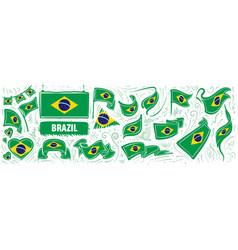 Set national flag brazil in vector