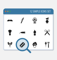 Set of 12 editable hairstylist icons includes vector