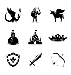 Set of monochrome fairytale game icons with vector image