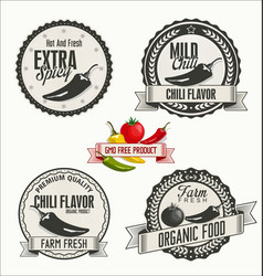 Set of organic and bio vegetables badges in vector