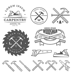 set vintage carpentry design elements vector image