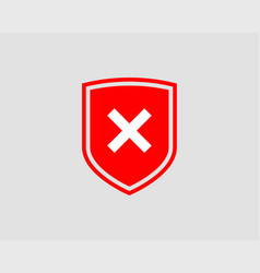 shield icon with mark symbol design element vector image