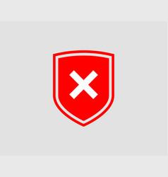 Shield icon with mark symbol design element vector